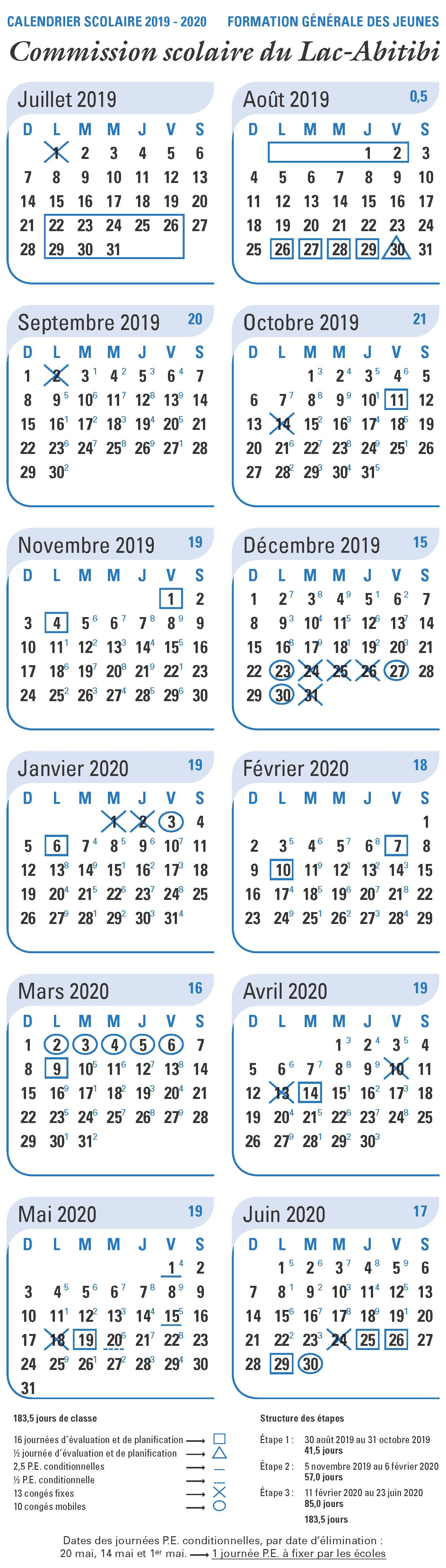 Calendrier 2019 2020 Ecole.Calendrier Scolaire 2019 2020